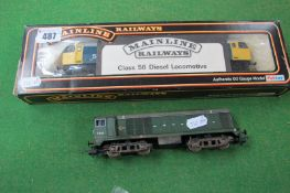Two 'OO' Scale Diesel Locomotives, a Lima Class 20 and a Mainline Class 56 (boxed), playworn.