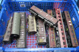 Nine 'OO' Scale Coaches/Goods Wagons, by Airfix and others, mainly LMS, all playworn, some