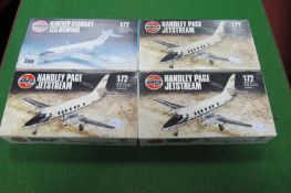 Four Plastic 1/72nd Scale Aircraft Kits by Airfix, three Handley Page Jestream, one Hawker
