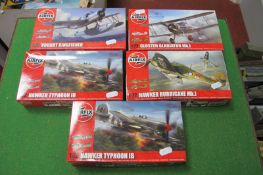 Five Plastic 1/72nd Scale Aircraft Kits by Airfix, including Vought Kingfisher and Hawker Typhoon,