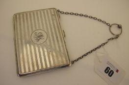 A Hallmarked Silver Ladies Purse/Case/Aide Memoire, (marks rubbed) Birmingham 1915, allover engine