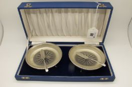 A Pair of Hallmarked Silver Mounted Glass Butter Dishes, Walker & Hall, Sheffield 1960, each of