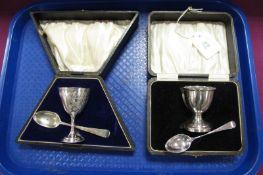 A Decorative Hallmarked Silver Pedestal Egg Cup, WH, Birmingham 1899, with a hallmarked silver