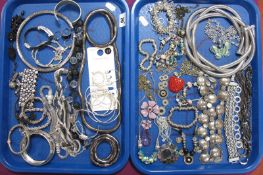 A Mixed Lot of Assorted Costume Jewellery, insulting bangles, bracelets, necklaces etc :- Two Trays