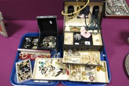 A Large Mixed Lot of Assorted Costume Jewellery, including imitation pearls, diamanté, vintage and