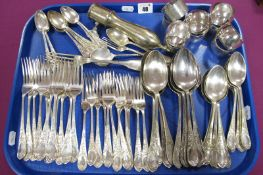 """A German Table Fork, (stamped crescent/crown mark and """"800"""", 62g); a hallmarked silver child's"""