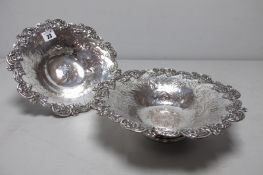 A Pair of Decorative XIX Century Plated on Copper Dishes, each of shaped design, allover foliate