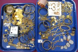 Assorted Modern Costume Jewellery, including bangles, dress rings, necklaces etc :- Two Trays