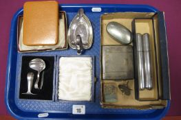 A Wentworth Pewter Double Cigar Case, initialled; a novelty swan ashtray, an EPNS baby's pusher