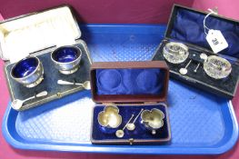 A Pair of Hallmarked Silver Salts, GWL&co, Birmingham 1923, each with blue glass liner (silver