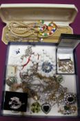 Assorted Costume Jewellery, including brooches, chains, imitation pearls, dress rings, Modernist