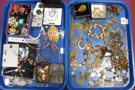 Assorted Costume Jewellery, including earrings, bracelets, necklaces, etc :- Two Trays