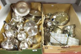Hallmarked Silver an Other Cruet Items, assorted plated tea wares, toast rack, sauce boat, dishes,