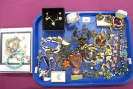 Assorted Costume Jewellery, including bangles, Delft dress ring, micromosaic and other brooches,