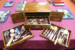 Assorted Plated Cutlery, including three piece ivorine handled meat carving set, pairs of salad