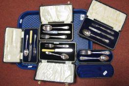 A Decoratived Hallmarked Silver Three Piece Child's Cutlery Set, George Unite, Birmingham 1870 (