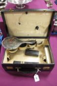 """Asprey London; A c./Early XX Century Black Leather Travelling Case, initialled """"E.M.C.H."""", 35cm"""
