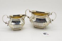 A Hallmarked Silver Jug and Matching Twin Handled Sugar Bowl, Charles Stuart Harris, London 1898,