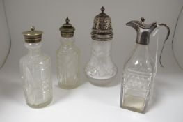 A Hallmarked Silver Mounted Glass Condiment Bottle, IW, Sheffield 1813 (handle repair) 15.5cm