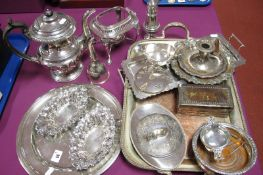 A Mixed Lot of Assorted Plated Ware, including Georgian coffee pot, modern boxed napkin rings,