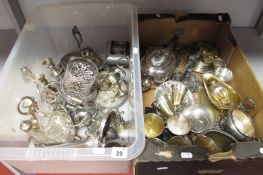 A Mixed Lot of Assorted Plated Ware, including cruet items, goblets, tea wares, etc :- Two Boxes