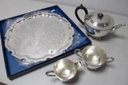 Garrard & Co; A Regent Plate Three Piece Plated Tea Set, together with a modern salver tray (boxed).