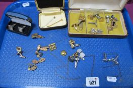A Small Collection of Vintage and Later Gents Cufflinks, etc.