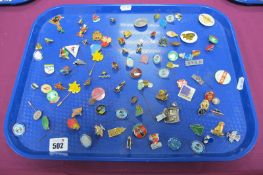 A Large Selection of Enamel and Other Pin/Badges, including souvenir, charity, girl guides,