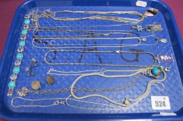 """Assorted Modern """"925"""" and Other Pendants and Chains, a pair of circular panel clip earrings ("""