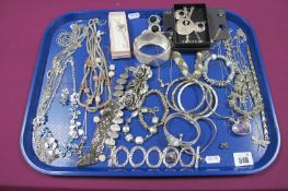 A Selection of Modern Costume Jewellery, including ornate bracelets, bangles, necklaces, earrings,