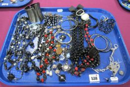 A Selection of Modern Costume Jewellery, including bangles, bead necklace, drop earrings, etc:-