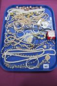 A Selection of Imitation Pearl Bead Costume Jewellery, including bracelets, necklaces, rings, etc;