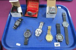 A Vintage Gent's Sekonda Digital Wristwatch; together with further gent's modern wristwatches,