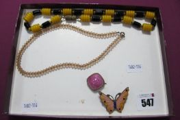 A Small Collection of Vintage Style Costume Bead Necklaces (2), an enamel butterfly brooch and a