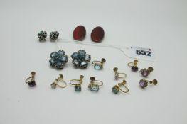 A Collection of Assorted Earrings, including single stone earrings on unpierced screw backs,