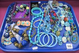 A Selection of Modern Costume Jewellery, including large ornate necklace, bracelets, bead necklaces,