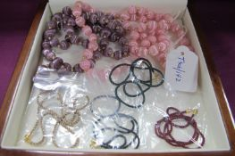 """Four Modern Coloured Cord Necklaces, each clasp stamped """"375"""" (each 40cm long); together with two"""