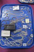 A Selection of Modern Ornate Diamanté Costume Jewellery, including drop earrings, bracelets,