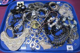 A Variety of Modern Costume Jewellery, including ornate necklaces, fancy drop earrings, bead