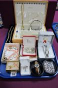 Assorted Modern Costume Jewellery, including ladies wristwatches, beads, dress rings, bow brooch,