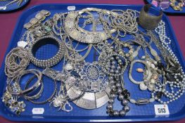 A Selection of Modern Costume Jewellery, including large bangles, ornate necklaces, bead
