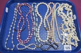 """A Modern Fresh Water Pearl Bead Necklace, to ball clasp, stamped """"375"""", 46cm long; together with"""