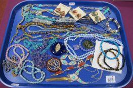 Modern Semi Precious Bead Necklaces, bracelets, 'Cloisonne' clip earrings (unpierced), etc :- One
