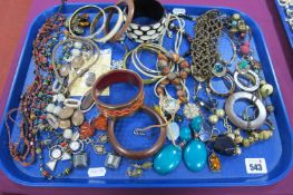 A Selection of Modern Ethnic Style Costume Jewellery, including bangles, bead necklaces, ornate drop
