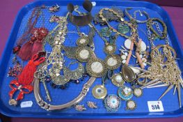 A Small Selection of Ornate Modern Costume Jewellery, including large gilt coloured necklaces,
