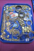 A Collection of Modern Gilt Coloured Costume Jewellery, including diamanté necklaces, bangles,