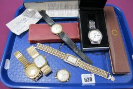 Accurist; A Vintage 9ct Gold Cased Gent's Wristwatch, the signed circular dial with Arabic numerals,