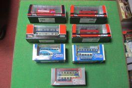 Three Corgi Original Omnibus Double Decker Buses and Four Corgi Original Omnibus Trolley Buses,