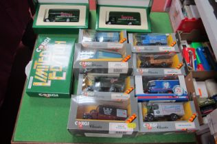 Eleven Corgi Classics Bedford 'O' Series, Thornycroft Vans, including LMS and LNER liveries, all