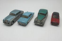 Four Original 1960's Diecast Cars, by Spot-On-Austin A40, Rolls Royce Silver Wraith, Ford Zodiac,